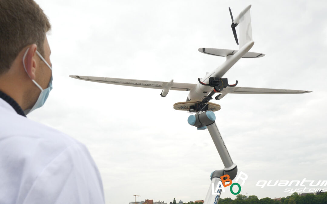 Drone port at mobile Corona test station at Munich's Theresienwiese