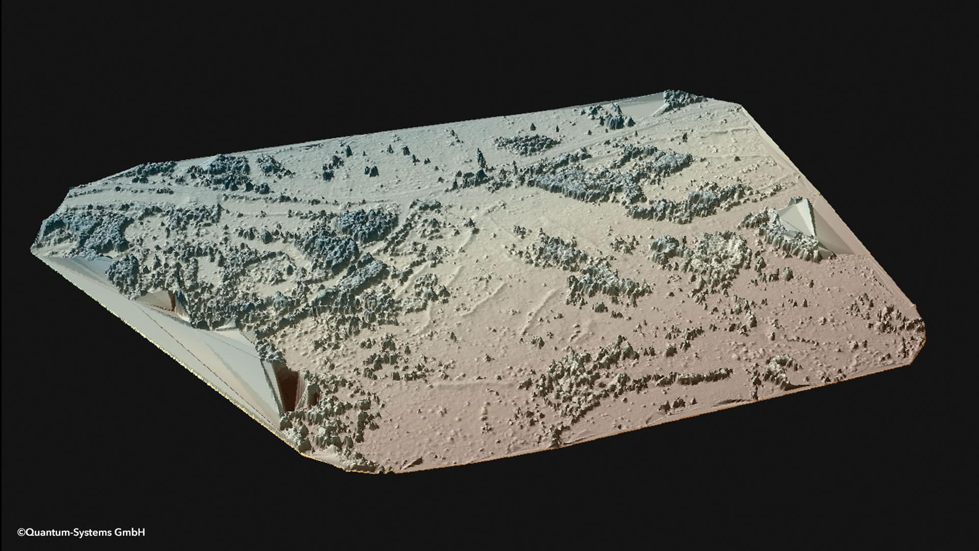 Figure 4: Terrain difference in the middle of the image due to burials of radiation contaminated material (Source: Munich University of Applied Sciences / Quantum-Systems; Image generated using ESRI ArcScene